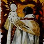 Prêtre portant le Saint Sacrement