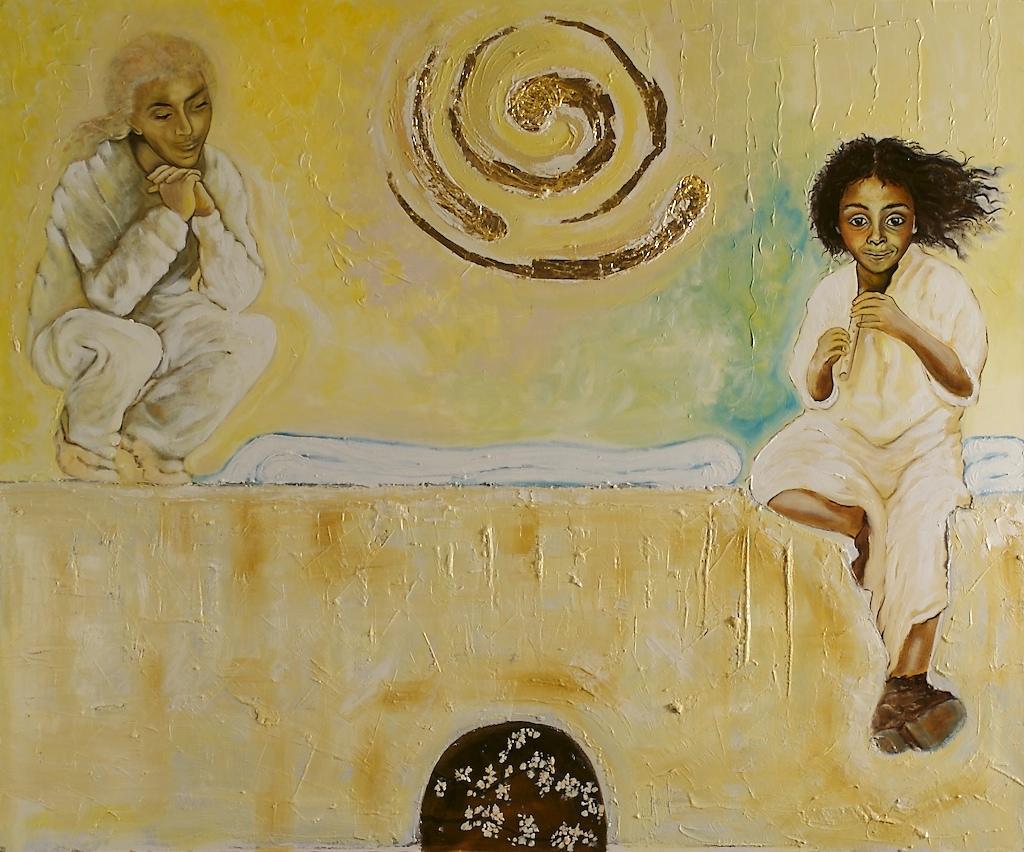 Tableau: deux anges sur le tombeau vide.