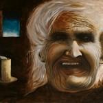 Tableau: visage d'une vieille femme toute ridée.
