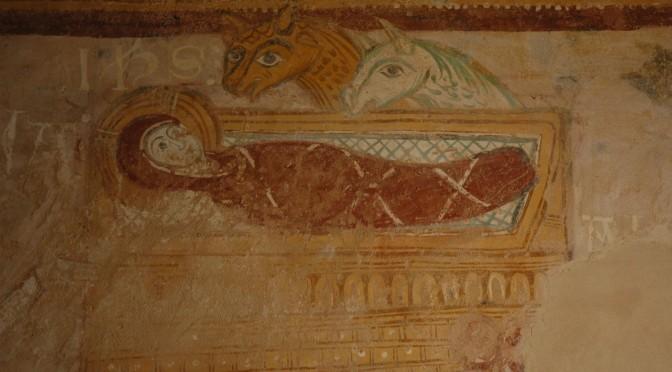 Enfant Jésus emmailloté dans la mangeoire, fresque de la chapelle de Lugaut