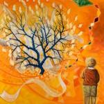 Un enfant regarde un buisson ardent autour duquel vole un cerf volant.