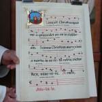 """""""Surrexit Christus spes mea"""" calligraphié avec musique et orné d'une enluminure."""