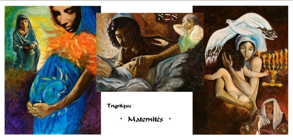 Trois tableaux d'attente et de naissance d'un enfant
