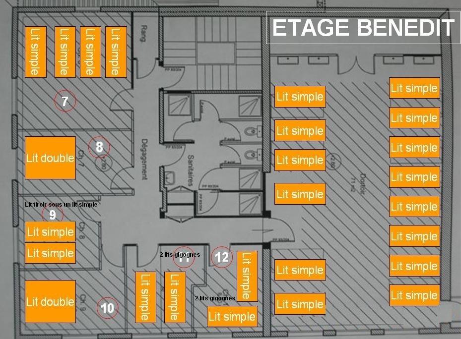 Plan de l'étage du Benedit