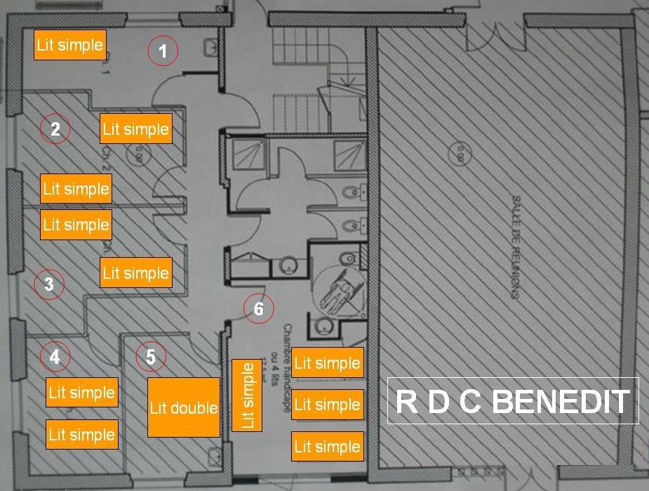 Plan du rez de chaussée du Benedit