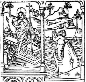 Gravure du XVe siècle, Jonas sotant du monstre marin et Jésus sortant du tombeau