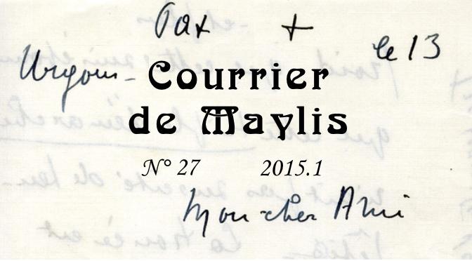 Courrirer de Maylis, sur fond d'écritures manuscrites