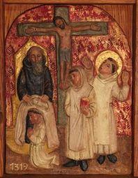 Bernard et ses compagnons reçoivent l'habit monastique devant le crucifix