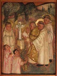 bénédiction et pause de la première pierre de Monte Oliveto par l'évêque d'Arezzo