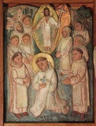 Election de Bernard comme abbé. Le Christ ressuscité, qu'il représente, se tient au-dessus de lui, en gloire