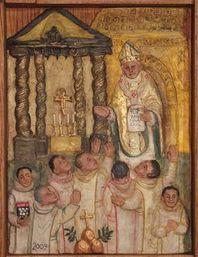 Canonisation de Bernard Tolomei par le pape Benoit 16 devant le baldaquin de Saint Pierre de Rome