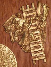 des moines aidés d'anges montent sur une échelle formée par les lettres du mot humilité