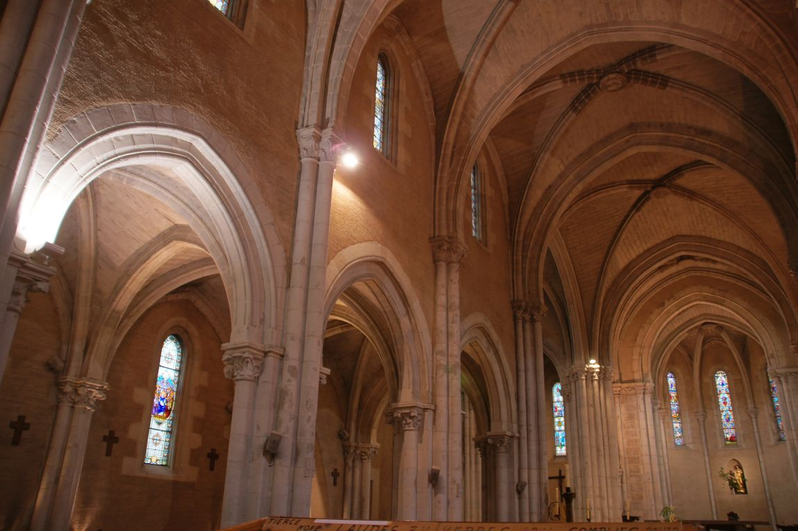 Les voûtes de la nef, vues du fond de l'église, mettent en valeur l'élancement de l'architecture néo-gothique.