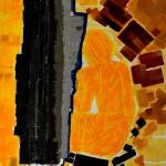abstraction en noir et orange