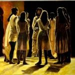Schola cantorum dans le noir contre-lumière