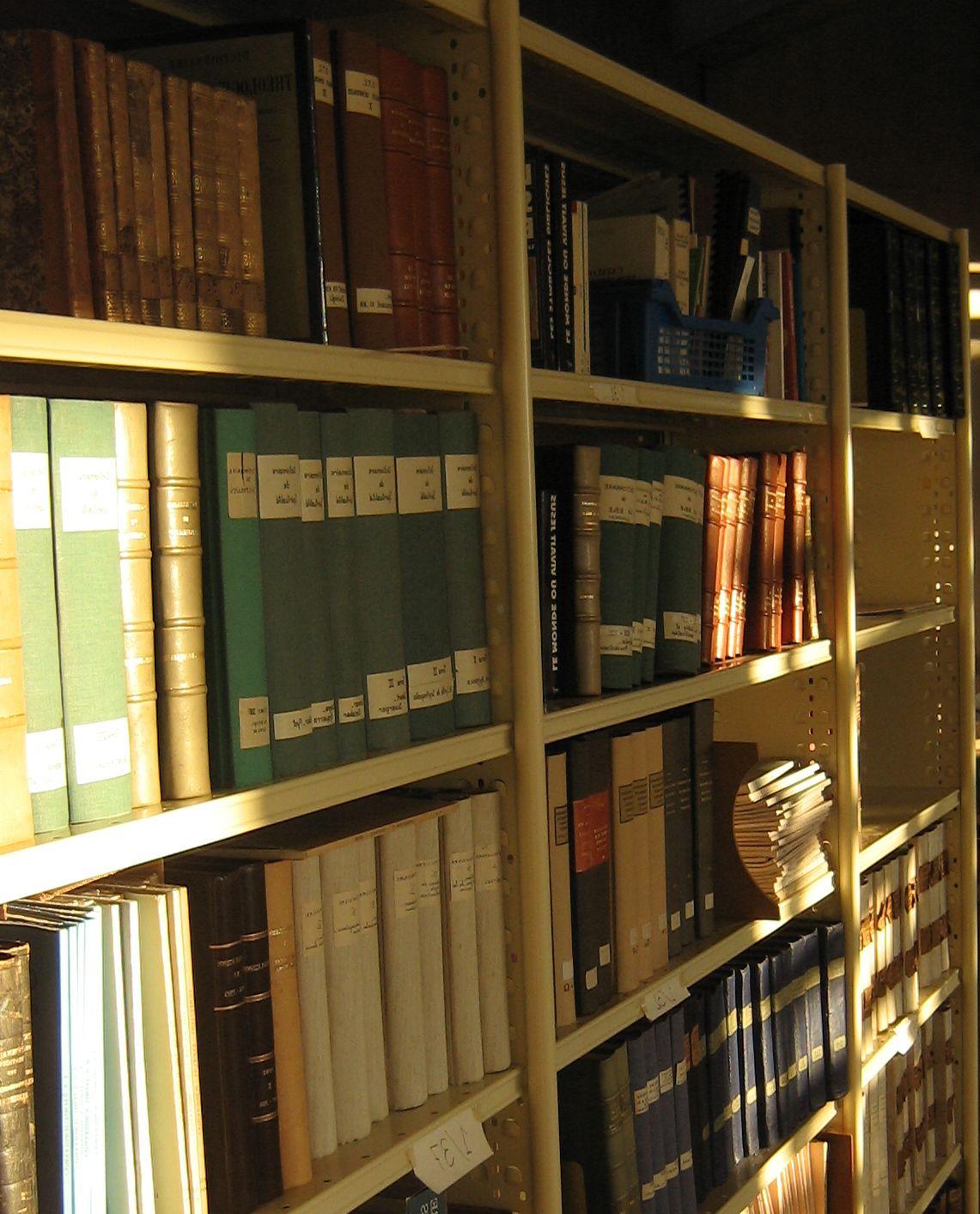 Rayonnages de bibliothèque caressés par les rayons du soleil.