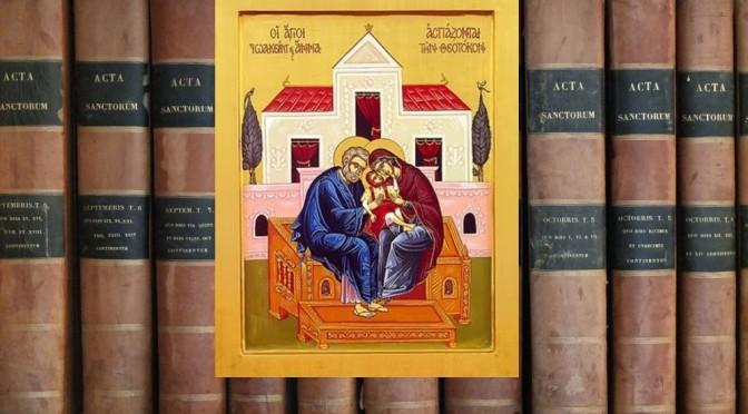 Icône représentant St Joachim, Anne, et Marie
