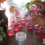 liquide rose dans des verres